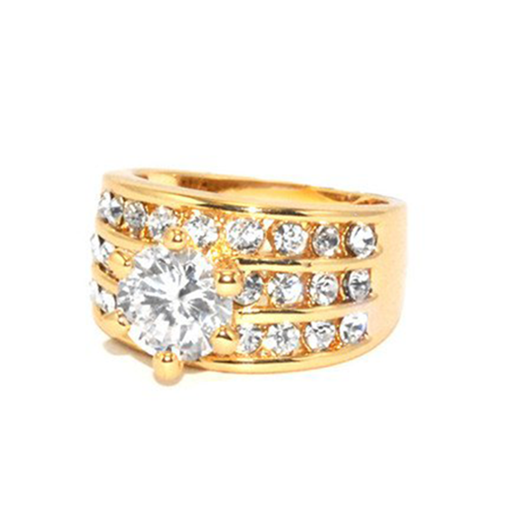 3.0 CT Round Solitaire With 3 Rows of Rounds Rinished in Gold