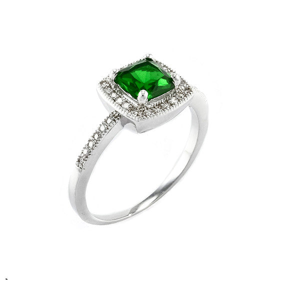 Emerald Square Cut Vintage Inspired Ring