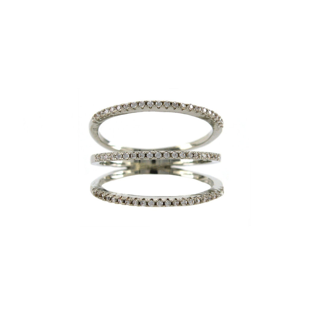 Three Row Stacked Pave Ring in Rhodium
