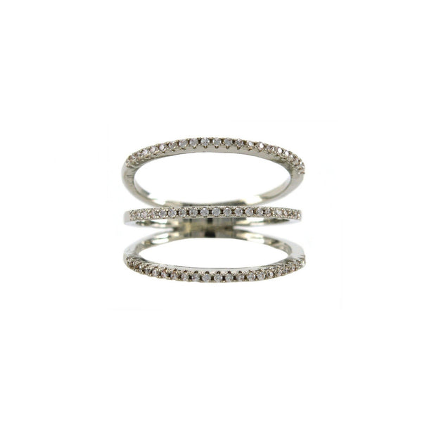 Three Row Pave Ring in Rhodium