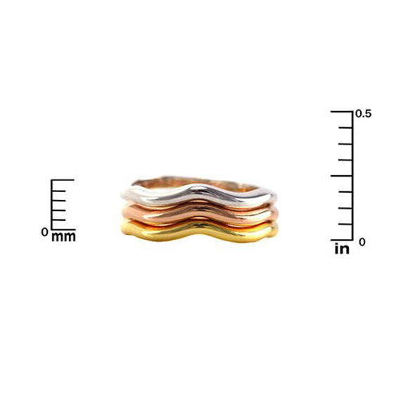 Triple Stackable Ring in Rose ,Gold and Rhodium