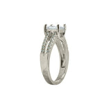Princess Cut CZ Split Band Ring in Rhodium with CZ Accents