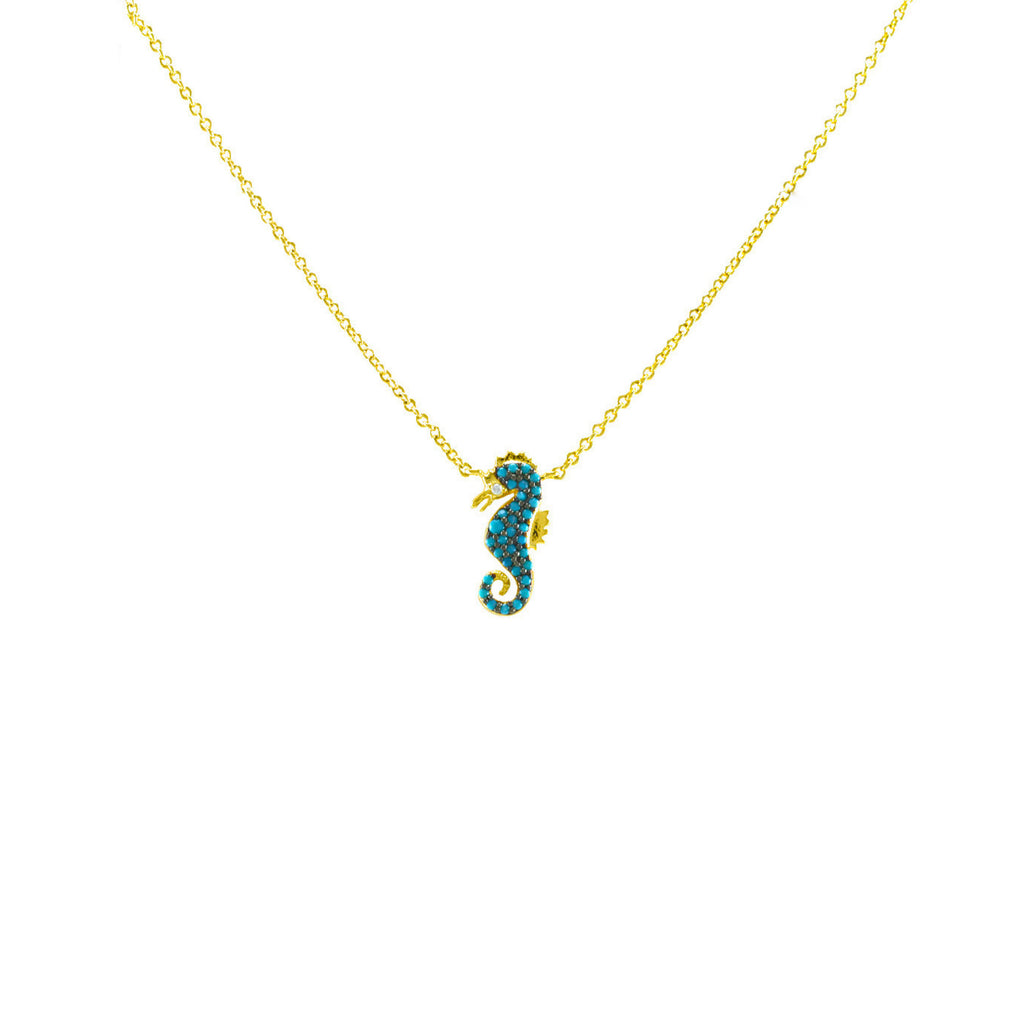 Gold seahorse necklace featuring turquoise cz with adjustable 18 gold seahorse necklace featuring turquoise cz with adjustable 18 chain aloadofball