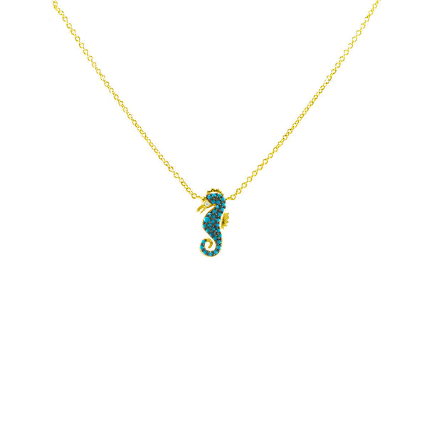 "Gold Seahorse Necklace Featuring Turquoise CZ With Adjustable 18"" Chain"