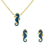 Seahorse With Turquoise CZ 2 Piece Gift Set of Necklace and Earrings