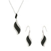 Black and White Pave Leaf Necklace and Earrings Set of Two