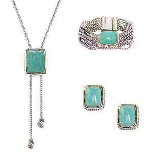 Turquoise 3 Piece Gift Set of Lariat Necklace, Bracelet and Earrings