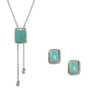 Turquoise 2 Piece Gift Set of Lariat Necklace and Earrings