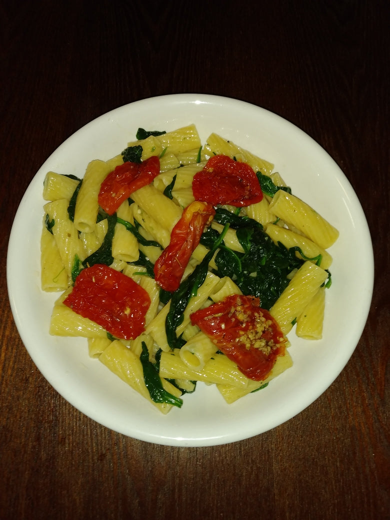 Pasta Aglio Oglio with Wilted Baby Spinach and Sun Dried Tomatoes
