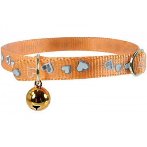 Orange Zolux Heart Embroidered Nylon Collar with a Bell