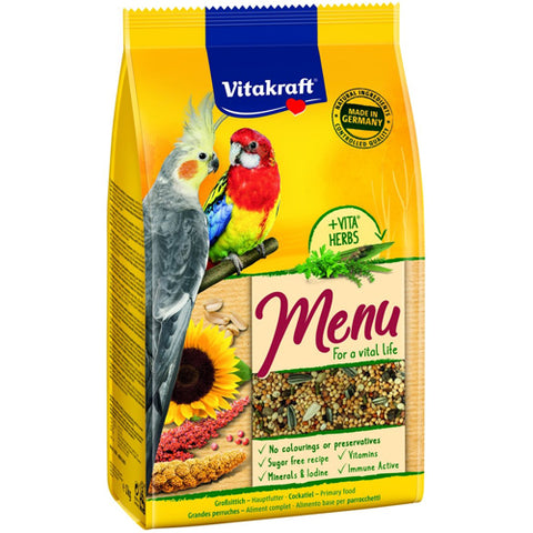 Vitakraft Premium Menu Balanced Food For Big Parakeets With Honey 1kg