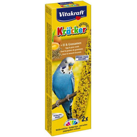 Vitakraft Cracker 2 Sticks Eggs & Grass Seeds for Budgies 54g