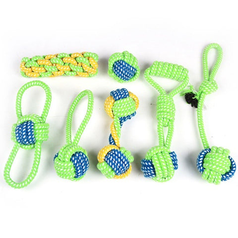 Dog's toy to the shape of tennis ball with rope , green  1*7  piece