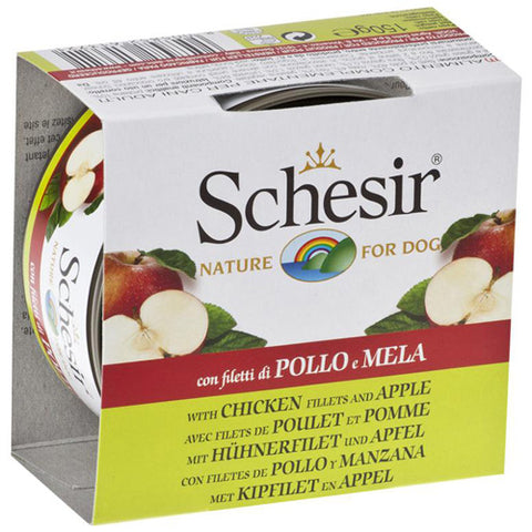 Schesir Chicken Fillets with Apple Canned Dog Food 150 g