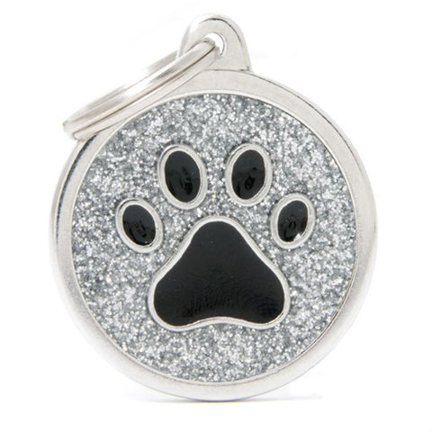 Shiny Silver Round Cat's Paw shaped Necklace