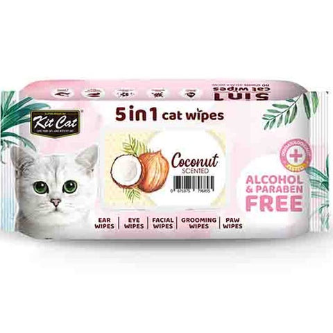 KitCat 5 in 1 Cat Wipes 80 sheets  (Coconut)
