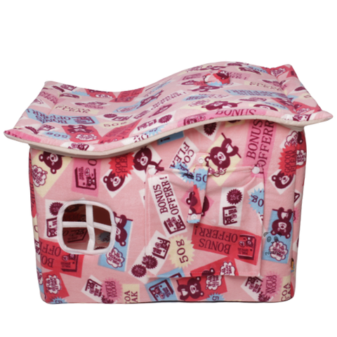 Pink Cat House With Bear Drawing 57 * 42 * 35 cm