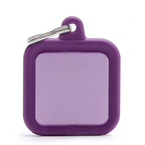 Purple Aluminum Square shaped Necklace With A Ribble Frame