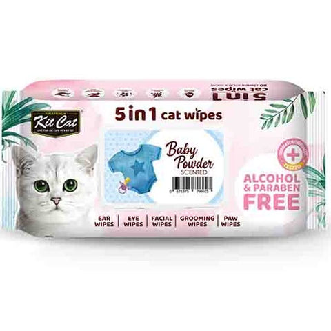 KitCat 5 in 1 Cat Wipes 80 sheets  (Baby Powder)