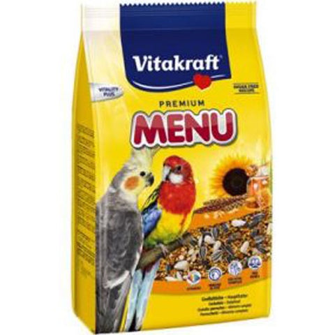 Vitakraft Premium Menu Balanced Food For Big Parakeets With Honey 3kg