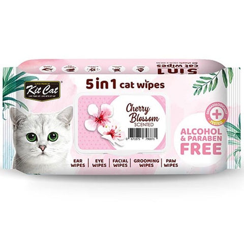 KitCat 5 in 1 Cat Wipes 80 sheets  (Cherry Blossoms)