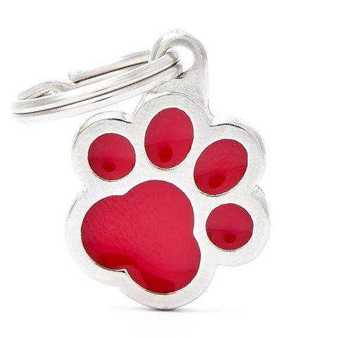 Red Aluminum Cat's Paw shaped Necklace
