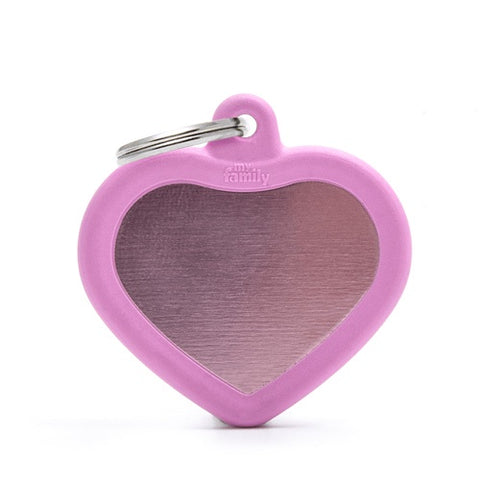 Pink Aluminum Heart Shaped Necklace With A Ribble Frame