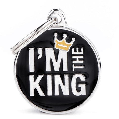 "Black Round Necklace With""I'm the King"" writing On It"