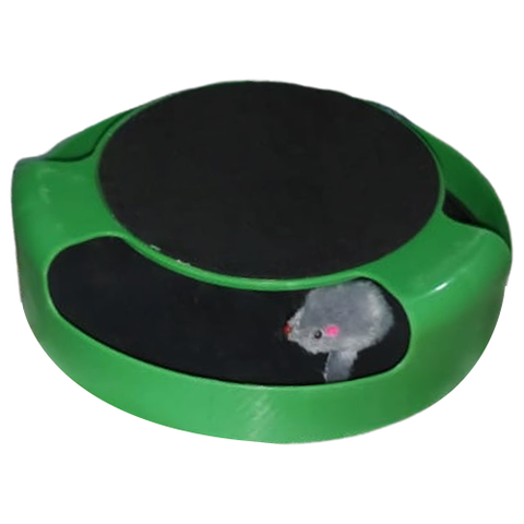 A trail game for cats with a scratching post and a mouse