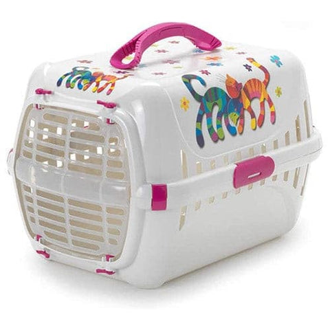 White Moderna Trendy Cat Litter Box With Cat Drawings