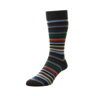 Pantherella Quakers Striped Merino Wool Socks - M.W. Reynolds