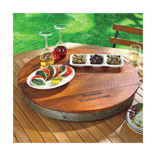 Personalized Raised Barrel Top Lazy Susan At Thirstynest Wine Registry