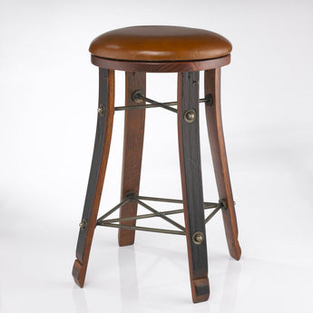 Vintage Oak Bistro Stool with Leather Seat, 24 inch