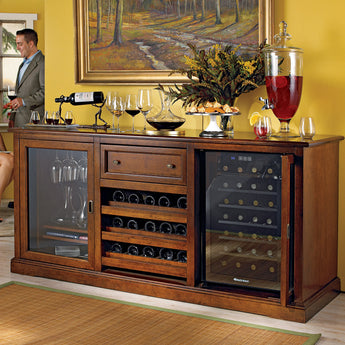Siena Wine Credenza with Free 28 Bottle Wine Fridge in Walnut