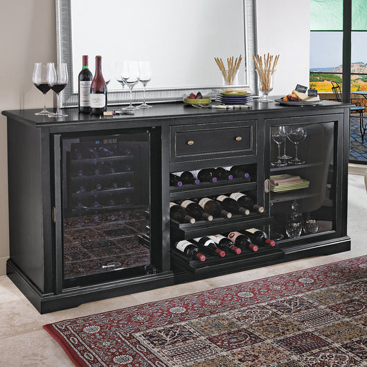 Siena Wine Credenza with Free 28 Bottle Wine Fridge in Black