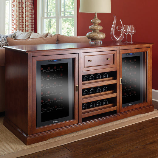Siena Wine Credenza with Two 28 Bottle Touchscreen Wine Fridges in Walnut