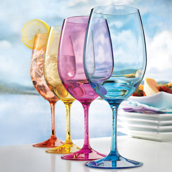 Mixed Colors Indoor/Outdoor Stems Wine Glasses, Set of 4