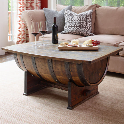 Whiskey Barrel Table With Storage