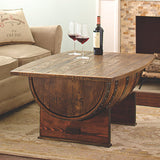 Handmade Vintage Oak Whiskey Barrel Coffee Table with Storage