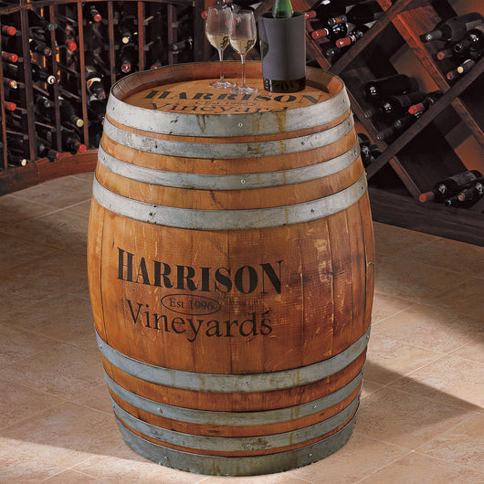 Monogrammed Finished Full Wine Barrel