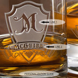 Whiskey Decanter and 4 Glasses Set with Personalized Shield