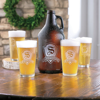 Personalized Shield Growler and Glasses Set