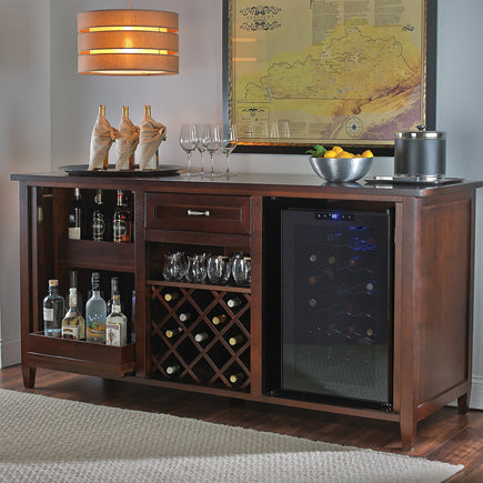 Firenze Credenza Espresso With 28 Bottle Fridge