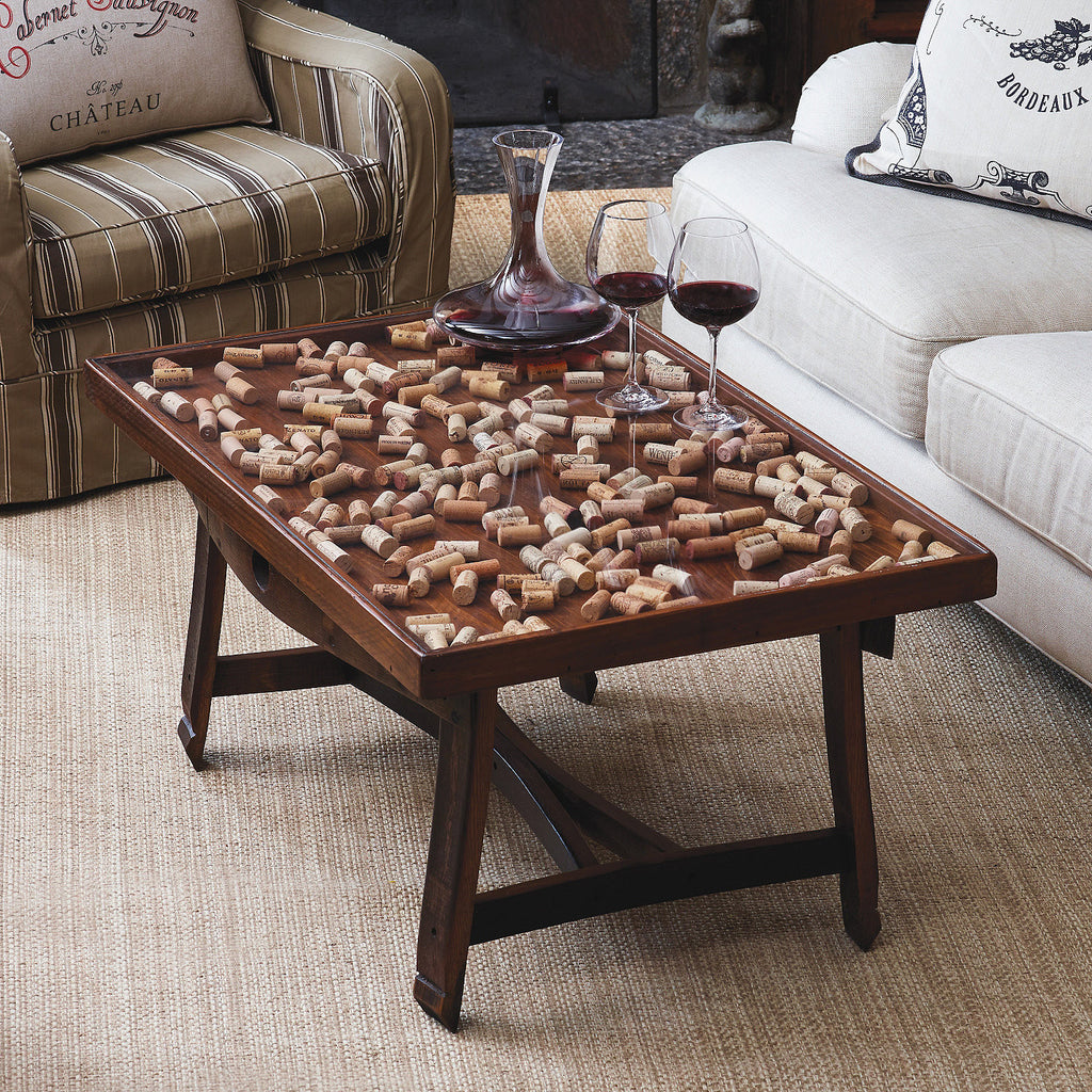 Cork Collector Coffee Table With Barrel Stave Legs At Thirstynest Wine Registry