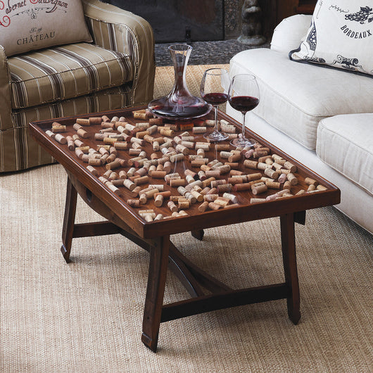cork collector coffee table with barrel stave legs at thirstynest