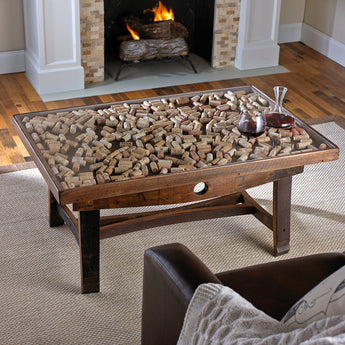 Collectors Coffee Table With Barrel Stave Legs