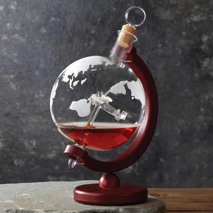 Antique Plane Globe Decanter With Wood Base