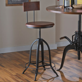 Industrial Crank Stool With Wooden Seat and Back