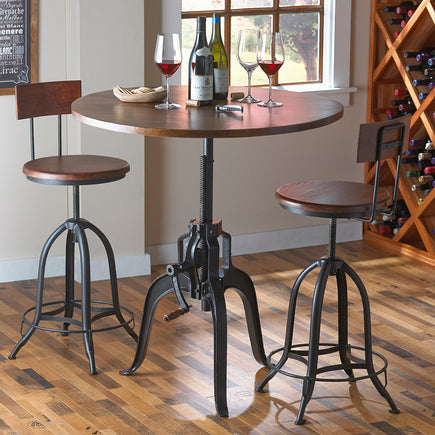 Industrial Pub Crank Table and 2 Stools