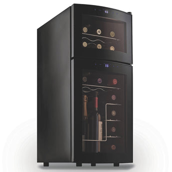 Silent Dual Zone 21 Bottle Wine Fridge with Curved Door